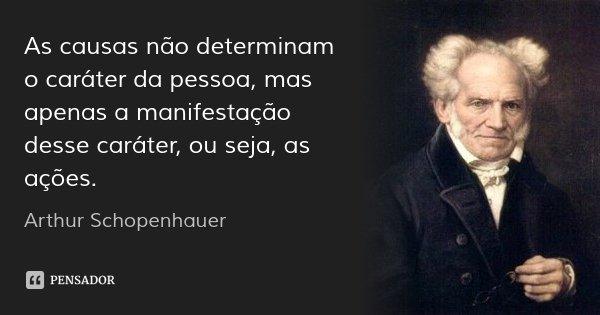 As causas não determinam o caráter da pessoa, mas apenas a manifestação desse caráter, ou seja, as ações.... Frase de Arthur Schopenhauer.