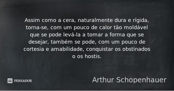 Assim como a cera, naturalmente dura e rígida, torna-se, com um pouco de calor tão moldável que se pode levá-la a tomar a forma que se desejar, também se pode, ... Frase de Arthur Schopenhauer.