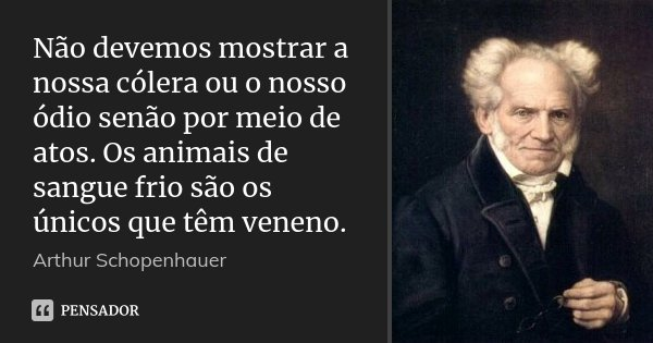 Não devemos mostrar a nossa cólera ou o nosso ódio senão por meio de atos. Os animais de sangue frio são os únicos que têm veneno.... Frase de Arthur Schopenhauer.