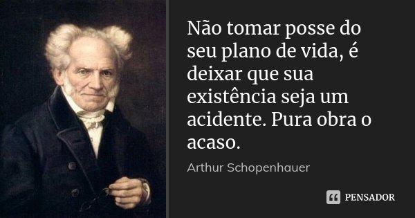 Não tomar posse do seu plano de vida, é deixar que sua existência seja um acidente. Pura obra o acaso.... Frase de Arthur Schopenhauer.