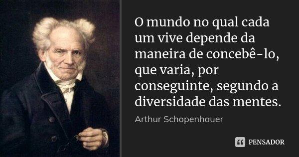 O mundo no qual cada um vive depende da maneira de concebê-lo, que varia, por conseguinte, segundo a diversidade das mentes.... Frase de Arthur Schopenhauer.
