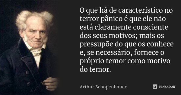 O que há de característico no terror pânico é que ele não está claramente consciente dos seus motivos; mais os pressupõe do que os conhece e, se necessário, for... Frase de Arthur Schopenhauer.