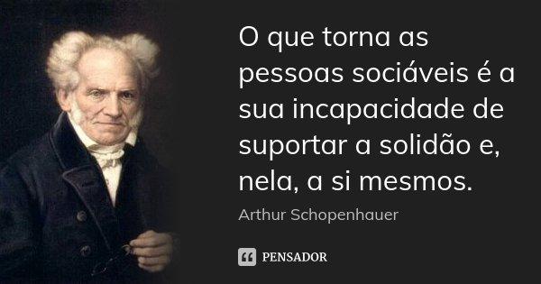 O que torna as pessoas sociáveis é a sua incapacidade de suportar a solidão e, nela, a si mesmos.... Frase de Arthur Schopenhauer.