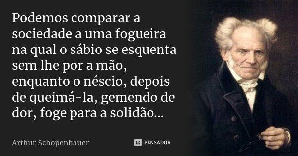 Podemos comparar a sociedade a uma fogueira na qual o sábio se esquenta sem lhe por a mão, enquanto o néscio, depois de queimá-la, gemendo de dor, foge para a s... Frase de Arthur Schopenhauer.