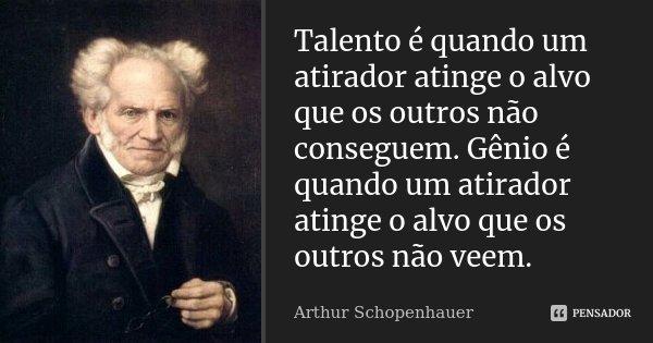Talento é quando um atirador atinge o alvo que os outros não conseguem. Gênio eh quando um atirador atinge o alvo que os outros não vêem.... Frase de Arthur Schopenhauer.
