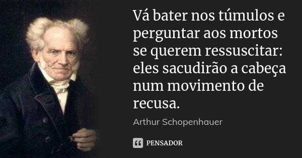 Vá bater nos túmulos e perguntar aos mortos se querem ressuscitar: eles sacudirão a cabeça num movimento de recusa.... Frase de Arthur Schopenhauer.