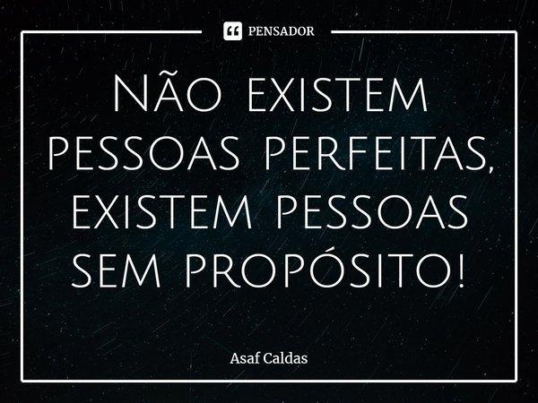 Não existem pessoas perfeitas, existem pessoas sem propósito!... Frase de Asaf Caldas.