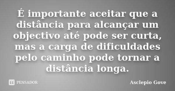 É importante aceitar que a distância para alcançar um objectivo até pode ser curta, mas a carga de dificuldades pelo caminho pode tornar a distância longa.... Frase de Asclepio Gove.