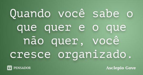 Quando você sabe o que quer e o que não quer, você cresce organizado.... Frase de Asclepio Gove.