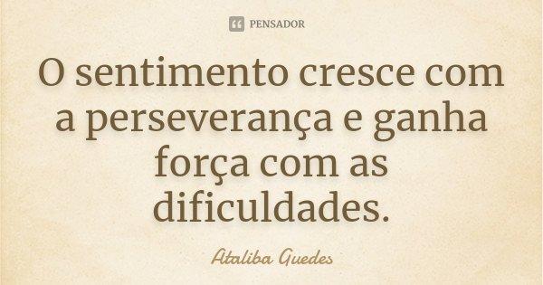 O sentimento cresce com a perseverança e ganha força com as dificuldades.... Frase de Ataliba Guedes.