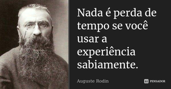 Nada é perda de tempo se você usar a experiência sabiamente.... Frase de Auguste Rodin.