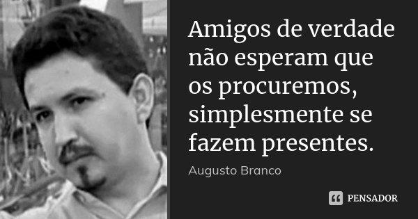 Amigos de verdade não esperam que os procuremos, simplesmente se fazem presentes.... Frase de Augusto Branco.