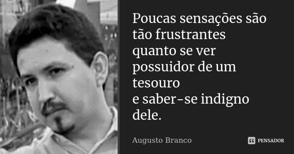 Poucas sensações são tão frustrantes quanto se ver possuidor de um tesouro e saber-se indigno dele.... Frase de Augusto Branco.