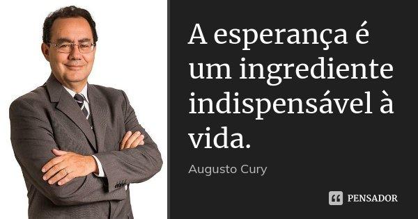 A esperança é um ingrediente indispensável à vida.... Frase de Augusto Cury.