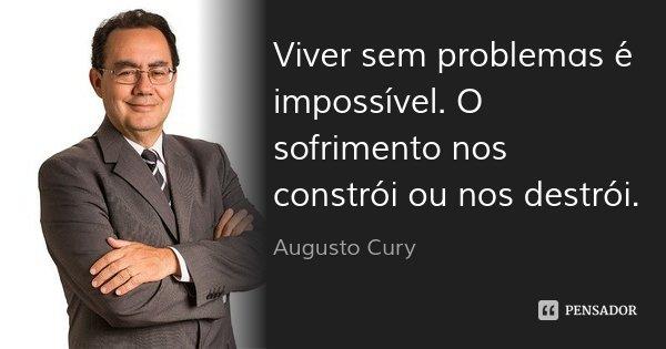 Viver sem problemas é impossível. O sofrimento nos constrói ou nos destrói.... Frase de Augusto Cury.