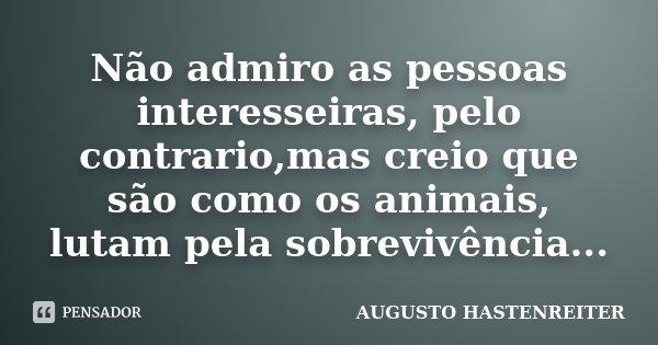 Não Admiro As Pessoas Interesseiras Augusto Hastenreiter
