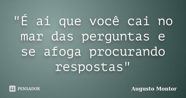 """""""É ai que você cai no mar das perguntas e se afoga procurando respostas""""... Frase de Augusto Montor."""