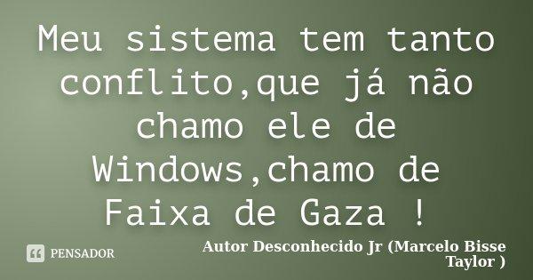 Meu sistema tem tanto conflito,que já não chamo ele de Windows,chamo de Faixa de Gaza !... Frase de Autor Desconhecido Jr (Marcelo Bisse Taylor ).