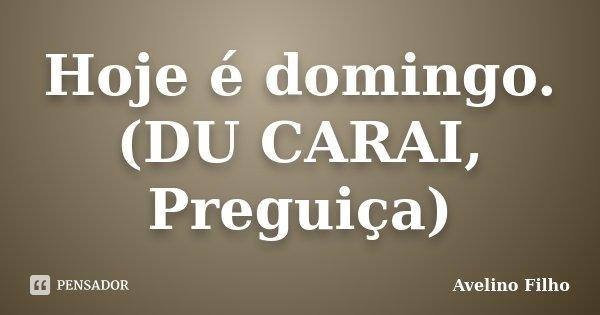 Hoje é domingo. (DU CARAI, Preguiça)... Frase de Avelino Filho.