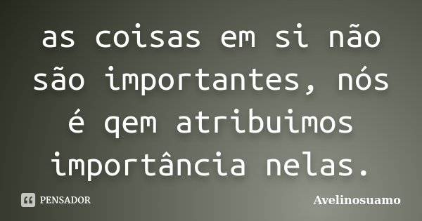 as coisas em si não são importantes, nós é qem atribuimos importância nelas.... Frase de Avelinosuamo.