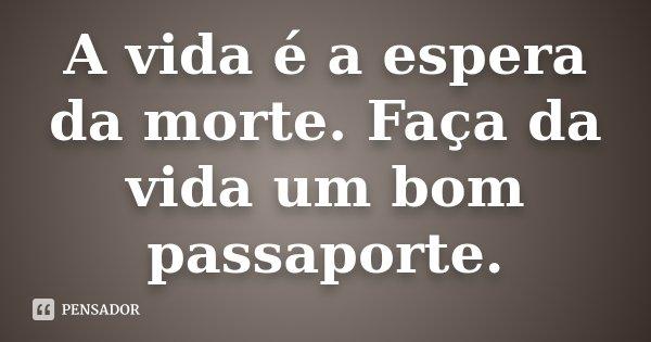 A vida é a espera da morte. Faça da vida um bom passaporte.... Frase de desconhecido.