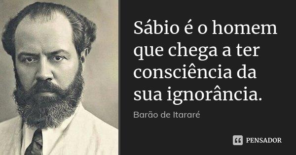 Sábio é o homem que chega a ter consciência da sua ignorância.... Frase de Barão de Itararé.