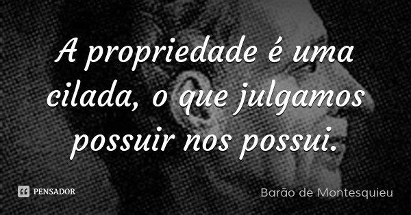 A propriedade é uma cilada, o que julgamos possuir nos possui.... Frase de Barão de Montesquieu.
