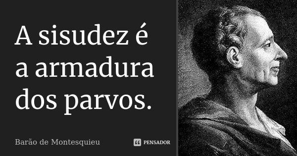 A sisudez é a armadura dos parvos.... Frase de Barão de Montesquieu.
