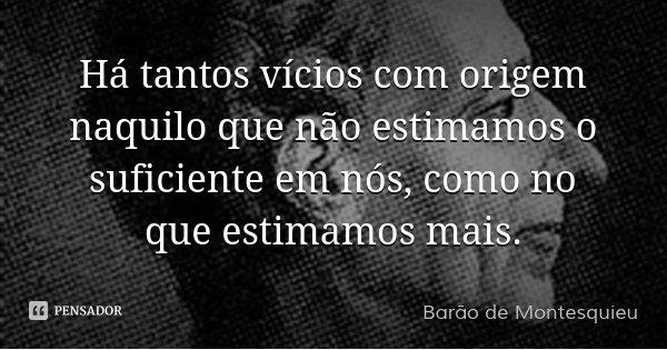 Há tantos vícios com origem naquilo que não estimamos o suficiente em nós, como no que estimamos mais.... Frase de Barão de Montesquieu.