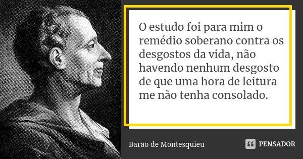 O estudo foi para mim o remédio soberano contra os desgostos da vida, não havendo nenhum desgosto de que uma hora de leitura me não tenha consolado.... Frase de Barão de Montesquieu.