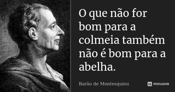 O que não for bom para a colmeia também não é bom para a abelha.... Frase de Barão de Montesquieu.