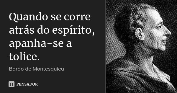 Quando se corre atrás do espírito, apanha-se a tolice.... Frase de Barão de Montesquieu.
