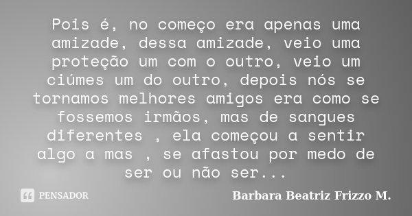 Pois é No Começo Era Apenas Uma Barbara Beatriz Frizzo M