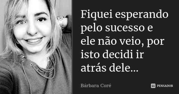 Fiquei esperando pelo sucesso e ele não veio, por isto decidi ir atrás dele...... Frase de Bárbara Coré.