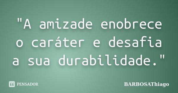 """""""A amizade enobrece o caráter e desafia a sua durabilidade.""""... Frase de BARBOSAThiago."""