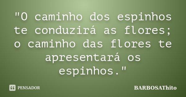 """""""O caminho dos espinhos te conduzirá as flores; o caminho das flores te apresentará os espinhos.""""... Frase de BARBOSAThito."""