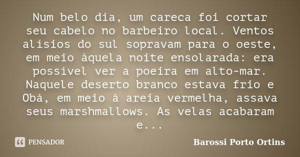 Num belo dia, um careca foi cortar seu cabelo no barbeiro local. Ventos alísios do sul sopravam para o oeste, em meio àquela noite ensolarada: era possível ver ... Frase de Barossi Porto Ortins.