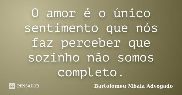 O amor é o único sentimento que nós faz perceber que sozinho não somos completo.... Frase de Bartolomeu Mbaia Advogado.
