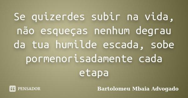 Se quizerdes subir na vida, não esqueças nenhum degrau da tua humilde escada, sobe pormenorisadamente cada etapa... Frase de Bartolomeu Mbaia Advogado.