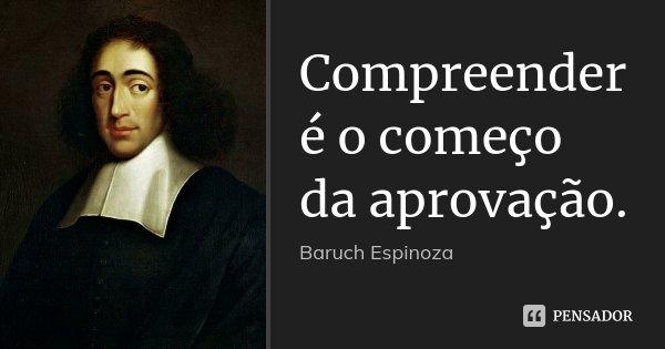 Compreender é o começo da aprovação.... Frase de Baruch Espinoza.