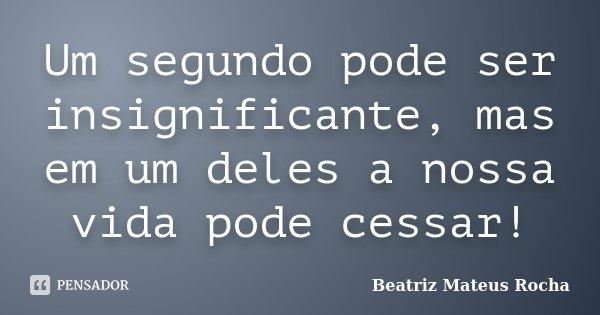 Um segundo pode ser insignificante, mas em um deles a nossa vida pode cessar!... Frase de Beatriz Mateus Rocha.