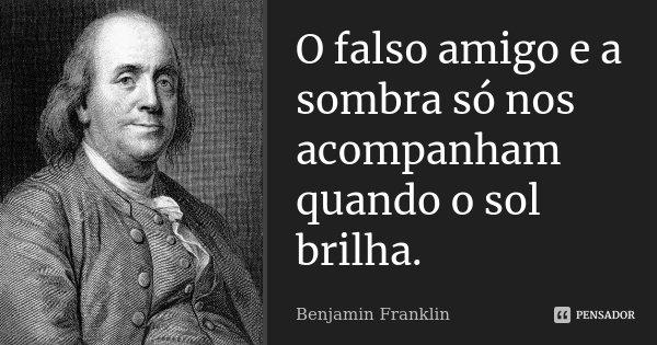 O falso amigo e a sombra só nos acompanham quando o sol brilha.... Frase de Benjamin Franklin.