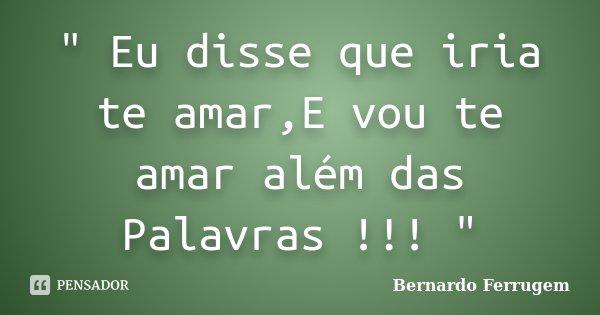 """"""" Eu disse que iria te amar,E vou te amar além das Palavras !!! """"... Frase de Bernardo Ferrugem."""