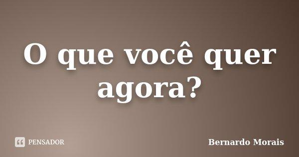 O que você quer agora?... Frase de Bernardo Morais.