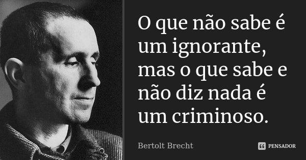 O que não sabe é um ignorante, mas o que sabe e não diz nada é um criminoso.... Frase de Bertolt Brecht.