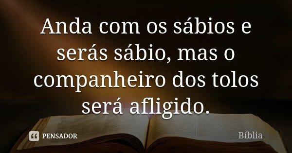 Anda com os sábios e serás sábio, mas o companheiro dos tolos será afligido.... Frase de biblia.