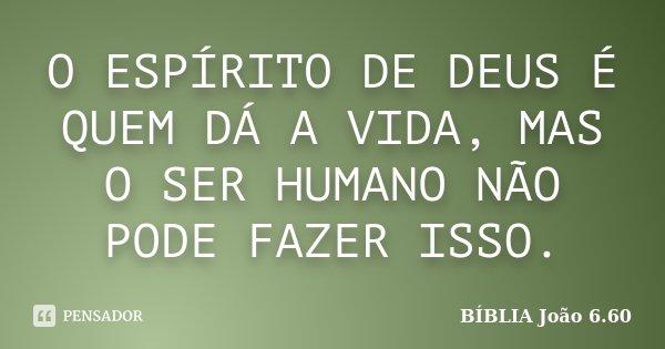 O ESPÍRITO DE DEUS É QUEM DÁ A VIDA, MAS O SER HUMANO NÃO PODE FAZER ISSO.... Frase de BÍBLIA João 6.60.