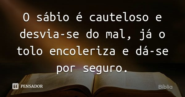 O sábio é cauteloso e desvia-se do mal, já o tolo encoleriza e dá-se por seguro.... Frase de Bíblia.