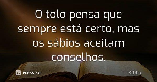 O tolo pensa que sempre está certo, mas os sábios aceitam conselhos.... Frase de Biblia.