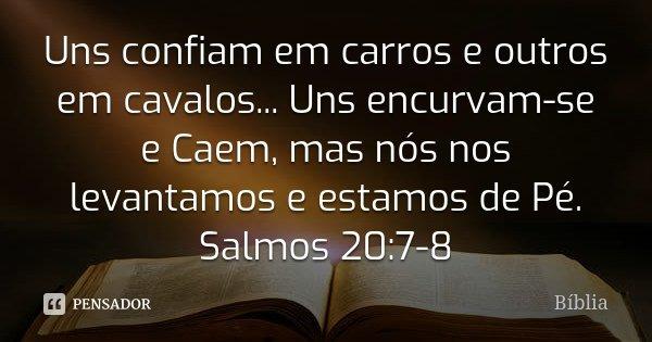 Uns confiam em carros e outros em cavalos... Uns encurvam-se e Caem, mas nós nos levantamos e estamos de Pé. Salmos 20:7-8... Frase de Bíblia.